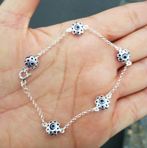 Jewelry - Evil Eye Silver & Blue Bracelet 7.5 inches